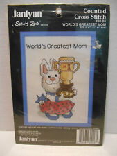 JANLYNN Counted Cross Stitch Kit #38-96 SUZY'S ZOO World's Greatest Mom Complete