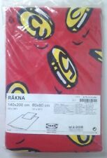 Ikea Rakna Duvet Cover and Pillow Case Sham Red w Gold Coins Money Euro Double