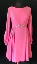 Vtg 60s Mod Pink Chiffon Blue Satin Ribbon dolly lolita party prom mini dress S