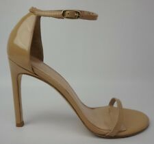 Stuart Weitzman Nudistsong Adobe Aniline Patent Heel Ankle Strap Sandal Size 8.5