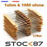 10 to100pcs carbon resistor 1/4w (0,25w )  1 to 100k ohms  - résistance carbonne