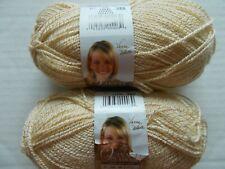 Lion Brand Vanna's Glamour yarn, Topaz (beige), lot of 2 (202 yds each)
