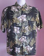 VTG Mens LINEA DOME Black Photo's/Leaves Hawaiian Shortsleeve Shirt Size M(25f