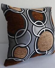 Grey Tan  Black Silver Retro Circles Chenille Texture Cushion Cover 45cm