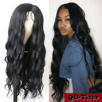 Long Black Synthetic Hair Wig Fashion Women Middle Part Loose Wavy Cosplay Wigs