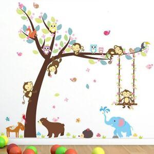 Wandtattoo Wandaufkleber Tiere Affe Eule Elefant Vögel Baum Kinderzimmer (139)