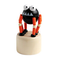 Classic Wood Pushpuppet Creepy Critter Black Monster w/Orange Legs Pointy Teeth!