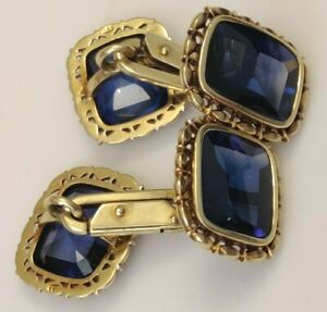 Vintage 18k Yellow Gold and Sapphires Men's Cufflinks Estate Jewelry 11.2 DWT