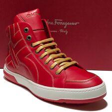 Ferragamo Fashion Sneaker 15 EE 48 Men's Leather Gancio Lace-up High-Top Boots