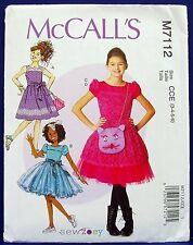 McCalls Girls' Overskirt Dress Cat Handbag Sewing Pattern Child 3,4,5,6 7112