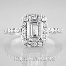 Diamond Halo Set Ring 1.40ct Certificated J SI Emerald Cut 18ct White Gold Band