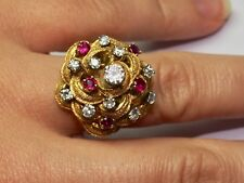 Antique 18 kt yellow gold Ring with Diamonds and Ruby stones