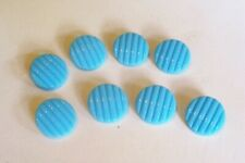 8  vintage unused blue glass buttons with a ridged, slightly convex top 18 mm.