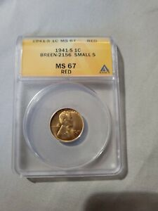 1941 S Lincoln Cent - ANACS MS67 RED small s