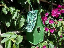 Mosaic Tile roof Birdhouse with mesh construction for  Garden & Patio