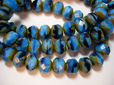 25 8x6mm Midnight Sky Blue Czech Glass Picasso Rondelle beads