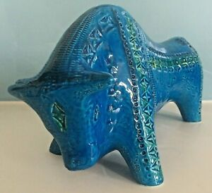 LARGE Bitossi Rimini Blue aldo londi animal figure BULL italian pottery Blu