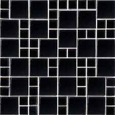 1 SQ M Mosaic Wall Tiles Shiny Black Glass Bathroom Walls Splashback 0025