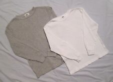 (2) Boys OLD NAVY Waffle Weave LS Pullover Top, 1 White, 1 Heather Gray - M (8)