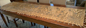 "Fine Antique FRENCH 90"" x 23"" Silk Embroidered Altar Cloth / Table Runner"