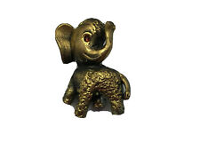 "Vintage Elephant Pin Brooch Trunk Up Red Rhinestone Eye 7/8"" Tall Figural K5"