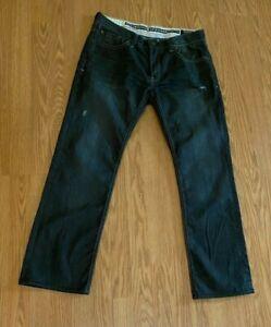 Buffalo David Bitton straight leg Jeans Mens Black Distressed 34x32