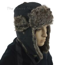 bf7abf69b276fa URBAN PIPELINE Men's BLACK QUILTED TRAPPER HAT Winter Cap BEIGE & BROWN ...