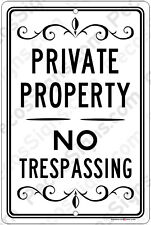 Private Property No Trespassing on an 8x12 Aluminum Sign Made in USA UV Protectd