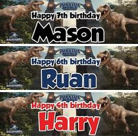 2 X personalized birthday banner Dinosaucers Jurassic world children kid party