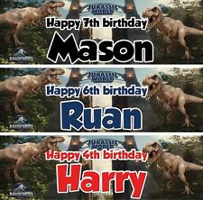 2 X personalized birthday banner Dinosaucers Jurassic world children kid party