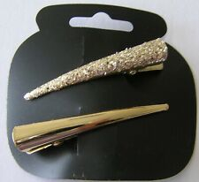1 NEW CARD 2 SHINY & GLITTER HAIR BEAK CLIPS PELICAN CONCORD GRIP GOLD LADIES