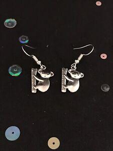 Silver Koala Earrings. Vintage Style Dangly Charm Earrings. Animal Jewelry