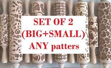 SET OF 2 (Big and Small) Wooden Rolling Pins Laser Cut Embossing Any 2 patterns