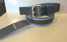 NWT Mens Facconable Black Leather Blue Cotton Belt RTL $155 Perfect 85/32