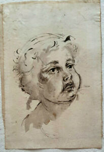 Unknown Artist, Watercolour on Paper, Baby Portrait, 28x19cm, 18th-19th Century