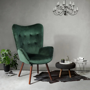 Green Velvet Tufted Accent Chair Oak Wood Finish Leg Base Standard Back Seat