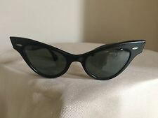 Ray Ban Bausch & Lomb 1950's Rare Black Marcelle Extreme Cats Eye Sunglasses