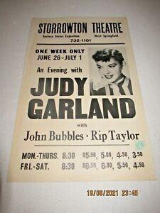WINDOW CARD-ORIGINAL-JUDY GARLAND-JOHN BUBBLES-RIP TAYLOR -STORROW THEATRE-WEST