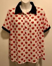 New Retro Pinup The Moon Red Apple Print Pointed Collar Pin Tuck Pleats Blouse L