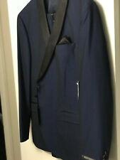 $100 NEW 44/R VIBRANT BLUE SLIM FIT BLACK LAPEL 2PC COAT PANT TUXEDO by WEST END
