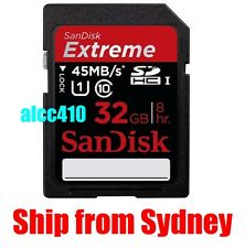 Genuine Sandisk Extreme HD Video 32GB 32 G SD SDHC 45MB/s UHS-I Class 10 Sydney