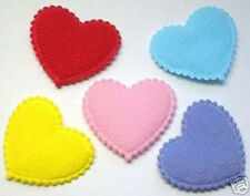 50 MIxed 30mm Padded Felt Heart appliques for Cardmaking DIY