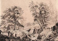LANDSCAPE ROCKS WATERFALL FIGURES & ORIGINAL OLD MASTER ROMANTIC INK DRAWING