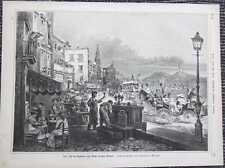 Festival of the Madonna of Monte Vergine Naples Wood Engraving from 1885 Napoli