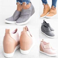 Women Ladies Casual Slip On Hidden Wedge Heel Sneakers Trainers Flats Shoes Size