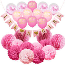 Set of 25 Party Decoration for Girl. IT'S A GIRL Baby Shower Hanging Banner Kit