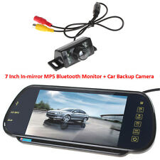 "7"" HD Car Monitor Rear View Bluetooth Mp5 Mirror + 7IR Parking Backup Camera Kit"