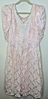 Vintage 1980s Gunne Sax Jessica McClintock Dress Pink Lace Bow Long Prom Wedding
