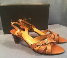 Liz Claiborne CATHLEEN Tan Brown Leather Slingback Strappy Heels 8.5 M w/ box