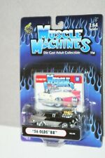 FUNLINE MUSCLE MACHINES 1/64 1956 OLDSMOBILE 88 BLACK AND SILVER WITH BLOWER